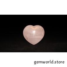 минерал Розовый кварц сердце 3.5х7х6 см