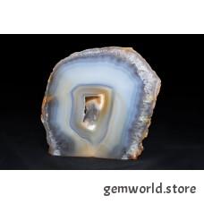 минерал Агат с кварцевой жеодой и внешним слоем кварца(срез) 2.2х10.5х11 см