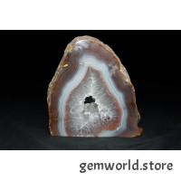 минерал Агат сапфирин с кварцевой жеодой и сердоликом(срез) 2х9х10 см