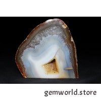 минерал Агат сапфирин с цитриновой жеодой, кварцом и сердоликом(срез) 2х9.5х9.3 см