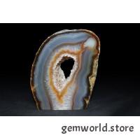минерал Агат с кварцевой жеодой(срез) 2.3х7х9 см