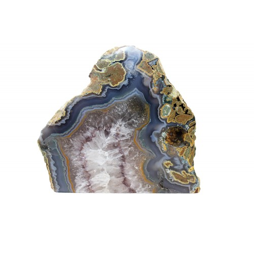 минерал Агат с кварцем и аметистовым узором 4.5х14.5х13.5 см
