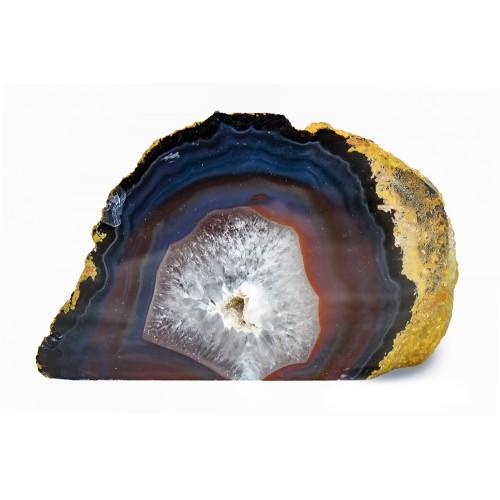 минерал Агат черный с кварцем и сердоликом 5.3х12.5х8.5 см