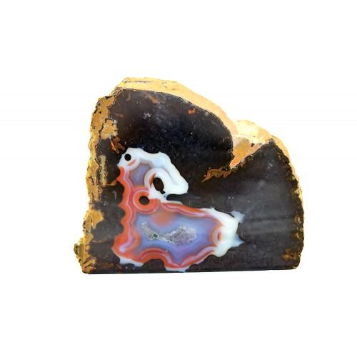минерал Агат черный с сапфирином и сердоликом 6.5х10х8 см