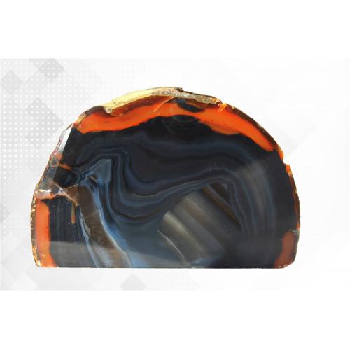 минерал Агат черный с сердоликом 3х12.5х8 см
